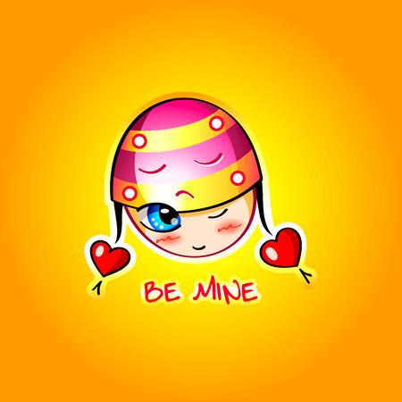 ojos anime: Asustarse a chica de San Valent�n con corazones en anime de dibujo