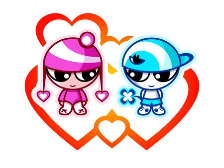 ojos anime: Ni�os lindos en San Valent�n primer amor con corazones