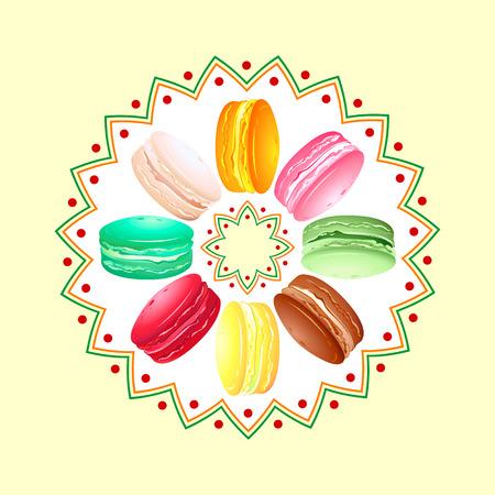macaron: Bunte franz�sische Cookie Macaroon twisted �ber Runde Muster Illustration