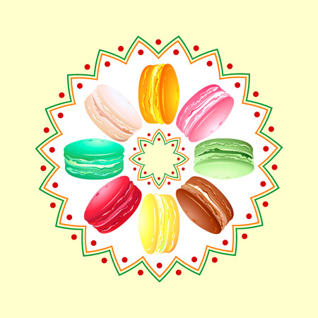 macaron: Colorful french cookie macaroon twisted over round pattern
