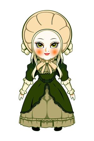 dolly: Carino Vittoriano moda bambola isolato over white Vettoriali