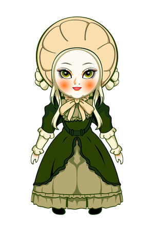 bonnet: Cute victorian fashion doll isolated over white Illustration