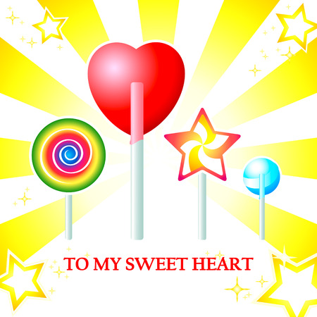Sweet heart and more colorful candy Vector