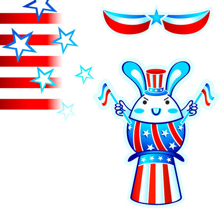 senate: USA election rabbit with flying stars and stripes Illustration