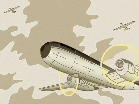 Retro oorlog strijders vliegen over bewolkte hemel Stock Illustratie