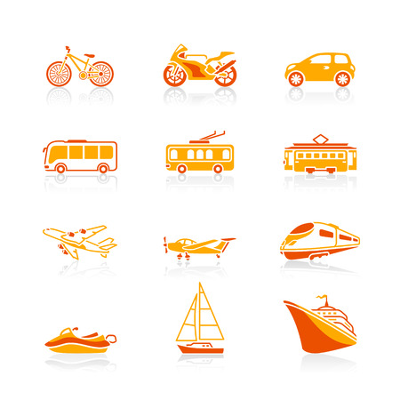 trackless: Modern and vintage vehicles icon-set in red-orange