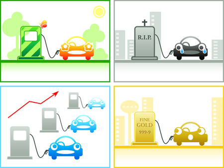 Car emotion at the different petrol stations Vector