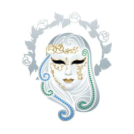 venetian carnival: Venetian female carnival floral mask isolated over white Illustration