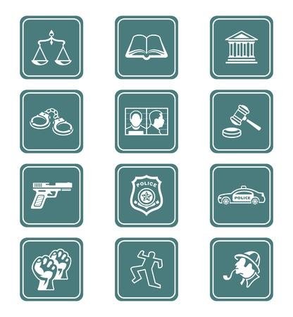 documentos legales: Conjunto de iconos de contorno de ley y el orden teal