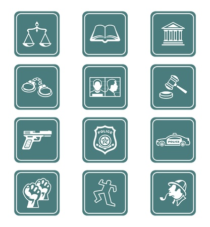 legal document: Law and order teal contour icon-set Illustration