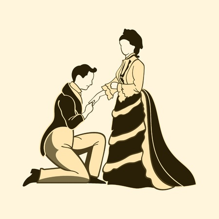 Classic victorian one knee proposal photo