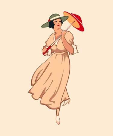 nouveau: Art nouveau spring fashion girl with umbrella Stock Photo