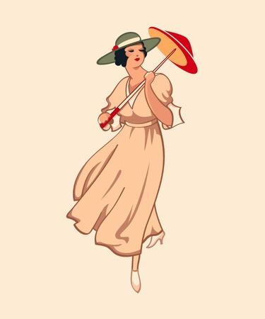 stile liberty: Ragazza di moda primavera art nouveau con ombrello
