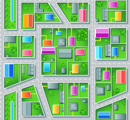 tile roof: Seamless city suburb plan with houses, trees and roads Stock Photo
