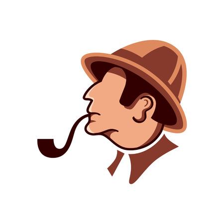 investigaci�n: Detective privado con perfil de tuber�a aislada en blanco