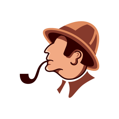 investigating: Private detective with pipe profile isolated over white Illustration