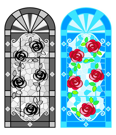 Stained glass floral windows in black-whites and colors Vector