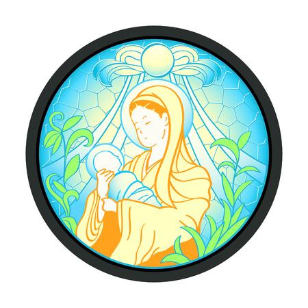 solemn: Bienaventurada Virgen Mar�a con el ni�o Jes�s en el marco de cristal Vectores
