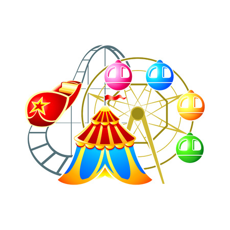 Circus, ferris wheel and rollercoaster at amusement park Stock Vector - 9046994