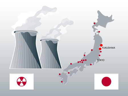Japan nuclear power stations map with highlighted Fukushima Vector