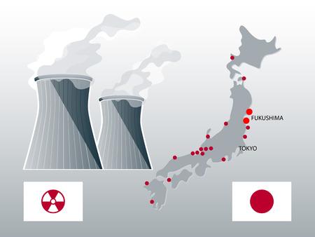 highlighted: Mappa di centrali nucleari Giappone con evidenziato Fukushima