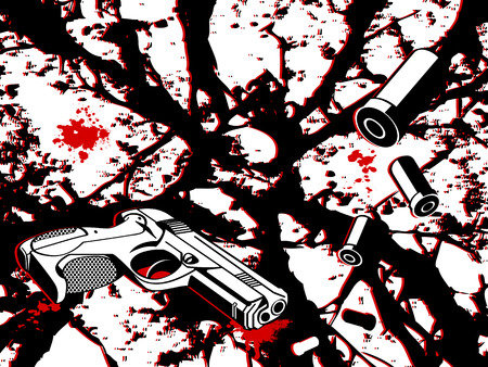 shattered glass: Crime scene background with gun and bullets