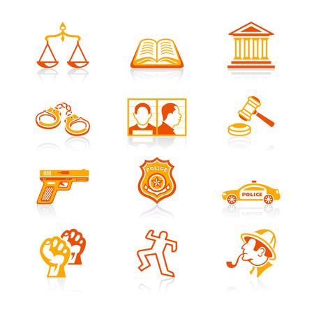 jurado: Contorno de la ley y el orden conjunto de iconos en rojo anaranjado