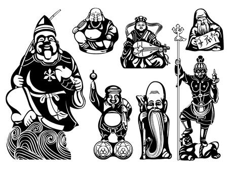 contentment: Japanese seven Lucky Gods - Ebisu, Hotei, Benzaiten, Juroujin, Daikoku, Fukurokuju, Bishamonten Illustration