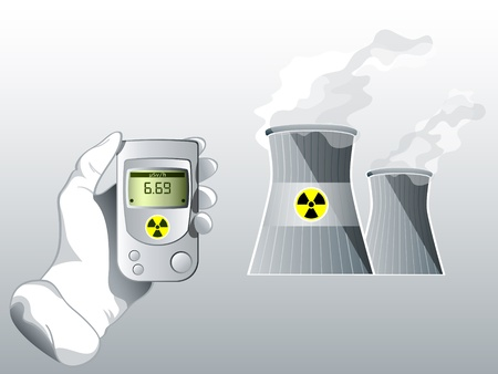 Hand with Geiger counter near nuclear power station Vector