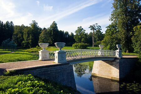 Royal bridge over summer park at Pavlovsk, Russia Stock Photo - 9181155