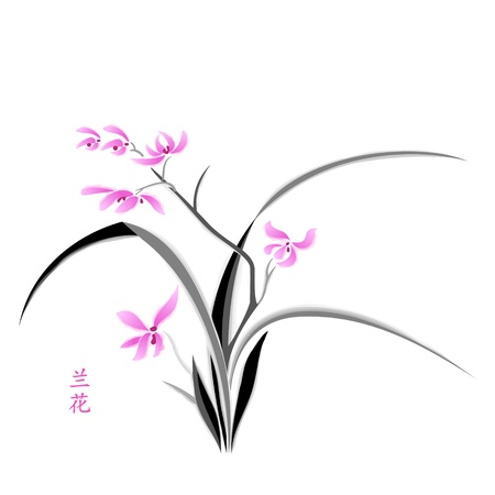 pink orchid: Orchid painting in japanese watercolour style