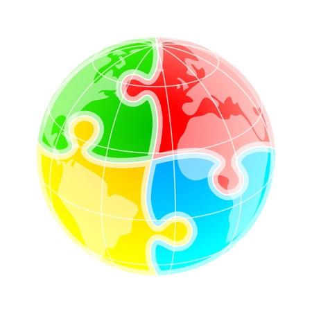 globo: Globo colorato abbozzato sotto modello puzzle