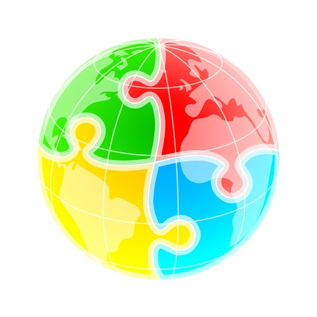 connected world: Sketchy colorful globe under puzzle pattern Illustration