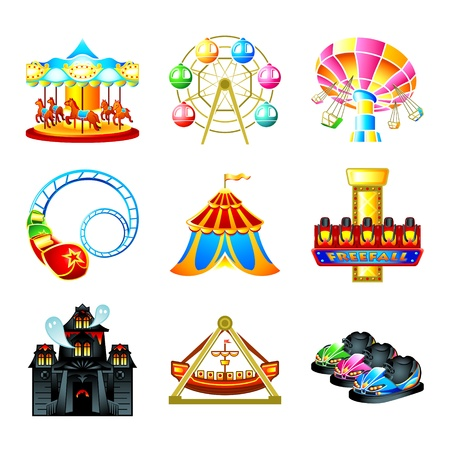 vergn�gungspark: Colorful Theme Park Attraktion icons Illustration