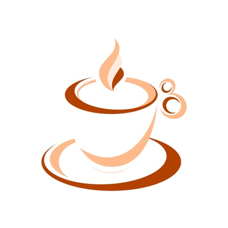 Artistic cup of espresso isolated over white