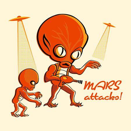 invader: Martian invasion in retro three color print halftone pattern Illustration