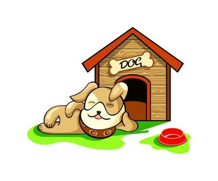 pregui�oso: Happy dog dreaming near his wood house isolated Ilustra��o