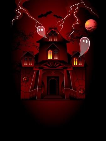 Haunted house met spookies op de stormachtige nacht
