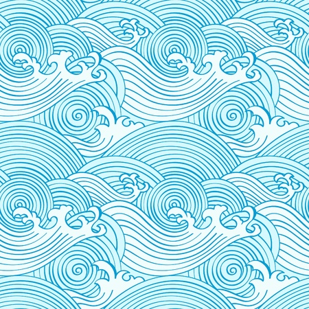 japanese kimono: Japanese seamless waves pattern in ocean colors