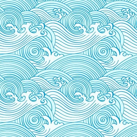 rippled: Modello giapponese onde senza soluzione di continuit� in colori di oceano Vettoriali