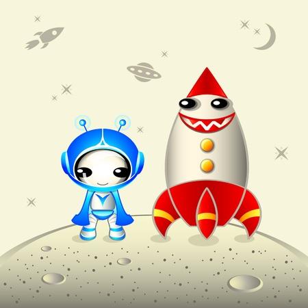 colonisation: Astronauta carino con sorridente razzo sulla superficie del pianeta Vettoriali