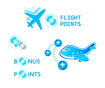 Flight bonus points symbol concepts isolated Vector