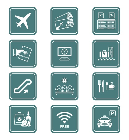 Airport services and objects teal contour icon-set Stock Vector - 9503816