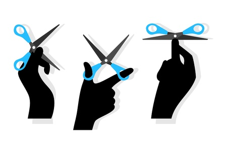 arms open: Cut word made of hands and scissors isolated