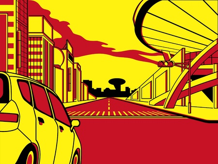 future advertising: Future crossroad in comics three color strip pattern Illustration