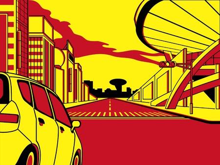 cruce de caminos: Futuro cruce en patr�n de tira de comics tres color