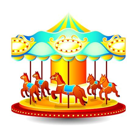 girotondo bambini: Giostra di bambini piccoli classico con cavalli Vettoriali