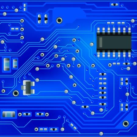 electrical circuit: Modello di circuito astratto blu senza soluzione di continuit� Vettoriali