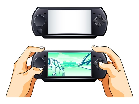 gamer: Portable gamepad blank and with gamer hands