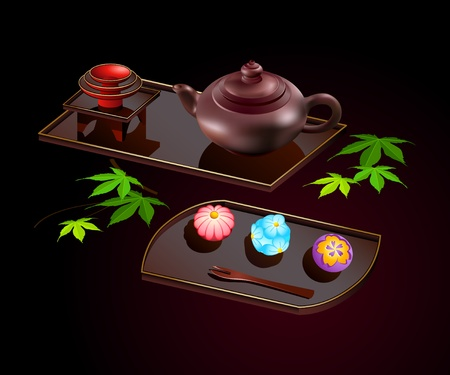 Japanese sweets wagashi with teapot on plate isolated over black Vector